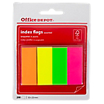 Index repositionnables Office Depot Neon 5 (H) x 2 (l) cm Assortiment de couleurs fluo   200