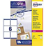 Étiquettes d'adresses 6 étiquettes par feuille Avery L7166 100 93,1 (H) x 99,1 (l) mm Blanc   100