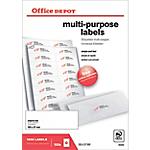 Étiquettes multifonctions Office Depot Coins droits Blanc 1600 étiquettes   100 feuilles de 16 étiquettes