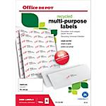 Étiquettes multifonctions recyclées Office Depot Coins droits 2400 étiquettes   100 feuilles de 24 étiquettes