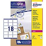 100 Feuilles d'étiquettes adresses Laser L7161   Avery   18