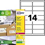 1400 Etiquettes laser recyclées   Avery   LR7163   99,1 x 38,1 mm