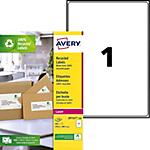 100 Etiquettes laser recyclées   Avery   LR7167   199,6 x 298,1 mm