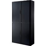 Armoire portes à rideaux   H. 204 x L. 110 cm   Paperflow   easyOFFICE   décor uni noir