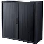 Armoire portes à rideaux   H. 104 x L. 110 cm   Paperflow   easyOFFICE   décor uni noir
