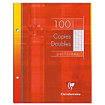 100 Copies doubles perforées   Clairefontaine   A5   Grands carreaux