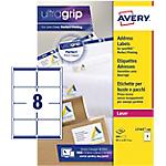 Étiquettes d'adresses 8 étiquettes par feuille Avery L7165 100 67,7 (H) x 99,1 (l) mm Blanc   100