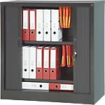Armoire portes à rideaux H.100 x L.100 cm   Realspace PRO   décor uni noir