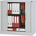 Armoire portes à rideaux H.100 x L.100 cm   Realspace PRO   décor uni gris