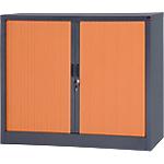 Armoire portes à rideaux H.100 x L.120 cm   Realspace PRO   décor bois Corps Anthracite