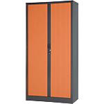 Armoire portes à rideaux H.198 x L.100 cm   Realspace PRO   décor bois Corps Anthracite