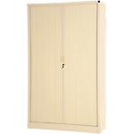 Armoire portes à rideaux H.198 x L.120 cm   Realspace PRO   décor uni Beige