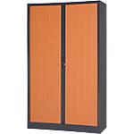 Armoire métallique à portes rideaux   rs Pro   l.120 cm   démontable   décor bois   corps gris anthracite & portes poirier
