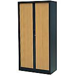 Armoire portes à rideaux H.180 cm   RS To go   décor bois Corps Anthracite