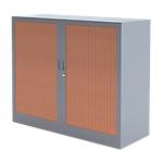 Armoire portes à rideaux H.100 x L.120 cm   Realspace PRO   décor imitation bois Corps Aluminium
