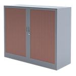 Armoire portes à rideaux H.100 x L.100 cm   Realspace PRO   décor bois Corps Anthracite