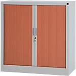 Armoire portes à rideaux H.100 x L.100 cm   Realspace PRO   décor bois Corps Aluminium