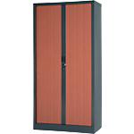 Armoire portes à rideaux H.198 x L.100 cm   Realspace PRO   décor imitation bois Corps Anthracite