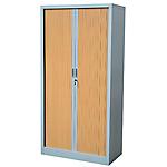 Armoire portes à rideaux H.198 x L.120 cm   Realspace PRO   décor bois Corps Anthracite