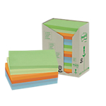Notes repositionnables Post it Classique 76 (H)  x  127 (l) mm 100 Feuilles Assortiment   16 blocs