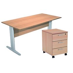 bureau droit et caisson mobile 3 tiroirs artexport busy. Black Bedroom Furniture Sets. Home Design Ideas