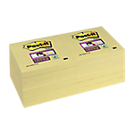 12 Blocs de notes repositionnables   Post it   Super Sticky   Jaune   76 x 76 mm