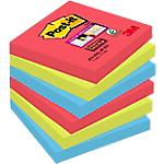 6 Blocs de notes repositionnables   Post it   Super Sticky   Coloris vitaminé   76 x 76 mm