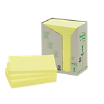 Notes repositionnables Post it Classique 76 (H)  x  127 (l) mm 100 Feuilles Jaune   16 blocs