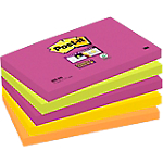 5 Blocs Notes repositionnables   Post it®   Super Sticky néon   76 x 127 mm