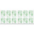 Timbres autocollant La Poste Pour lettre verte jusqu'à 20 g Vert   5 carnets de 12 timbres