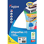 480 Etiquettes de bureau A5   Agipa   blanches 19 x 38 mm