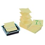 Post it® Lot 12 blocs Z Notes jaunes recyclés 76x76mm avec dévidoir Millenium offert