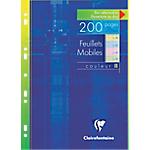 200 Feuillets mobiles couleur   Clairefontaine   A4   Grands carreaux