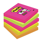 5 Blocs Notes repositionnables   Post it®   Super Sticky   couleurs assorties   76 x 76 mm