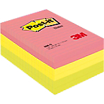 Lot de 6 Post it Néon 102 x 152 assortie (réf Post it 660 N)