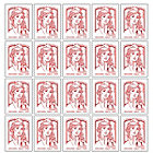 Timbres autocollant La Poste   5 carnets de 20 timbres