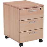 Caisson mobile 3 tiroirs plats Realspace Easy 43 (L) x 52 (P) x 60 (H) cm Imitation hêtre
