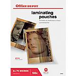 100 Pochettes de plastification   Office DEPOT   A4   216 x 303 mm   épaisseur 2 x 75 microns