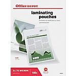 100 Pochettes de plastification   Office DEPOT   A4 MATE   216 x 303 mm   épaisseur 2 x 75 microns