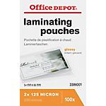 100 Pochettes de plastification   Office DEPOT   Pour Badges 54 x 86 mm   épaisseur 2x125 microns