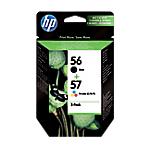 Pack de 2 cartouches Jet d'encre   HP   56 & 57   noire et 3 couleurs