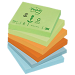 Notes repositionnables Post it Classique 76 (H)  x  76 (l) mm 100 Assortiment   12 blocs