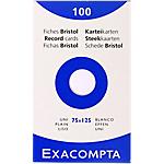 100 fiches Bristol blanches 75 x 125 mm   exacompta