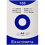 Fiches bristol   Exacompta   unies non perforées l.210 x h.297 mm Blanc