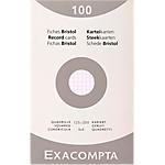 Fiches bristol   Exacompta   quadrillées non perforées l.125 x h.200 mm Blanc
