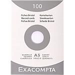 100 Fiches Bristol   Exacompta   non perforées   A5   quadrillées blanches