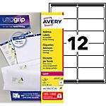 100 Feuilles d'étiquettes adresses Laser L7177   Avery   12