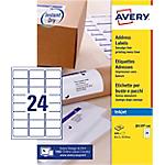 100 Feuilles pour étiquettes adresse jet d'encre   Avery   format A4 24 étiquettes 63,5 x 33,9 mm