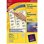 25 Feuilles A4 d'étiquettes transparentes   Avery   99,1 x 33,9 mm