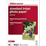 100 Feuilles de papier photo standard jet d'encre brillant   Office Depot   A4   180g